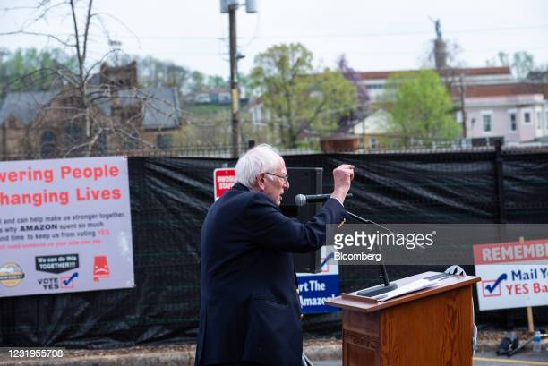 Senator Bernie Sanders, an Independent from Vermont, speaks at an event at the Retail, Wholesale and Department Store Union headquarters in...