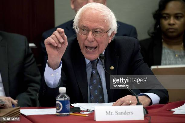 Senator Bernie Sanders an Independent from Vermont speaks during a HouseSenate conference meeting on the Republican led tax reform bill at the US...