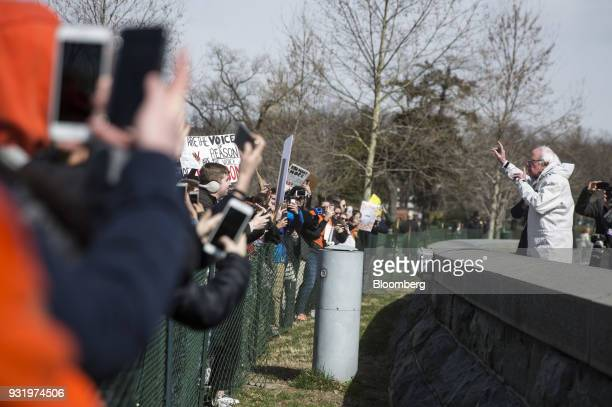 Senator Bernie Sanders an Independent from Vermont speaks to students outside the US Capitol building during the ENOUGH National School Walkout rally...