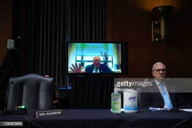 Senator Bernie Sanders, an independent from Vermont, speaks virtually during a Senate Veterans' Affairs Committee confirmation hearing for Denis...