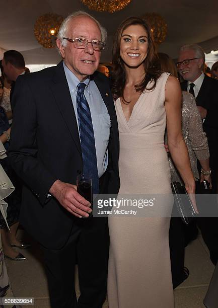 Senator Bernie Sanders and Hope Solo attend the Atlantic Media's 2016 White House Correspondents' Association PreDinner Reception at Washington...