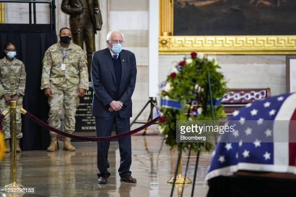 "Senator Bernie Sanders, and Independent from Vermont, pays respects during a ceremony for late U.S. Capitol Police Officer William ""Billy"" Evans at..."