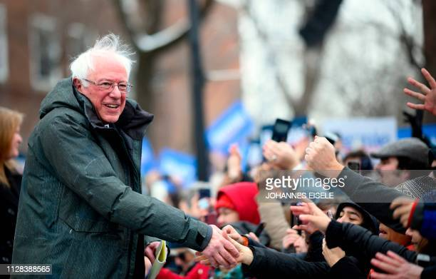 US Senator Bernie Sanders arrives for a rally to kick off his 2020 US presidential campaign in the Brooklyn borough of New York City on March 2 2019
