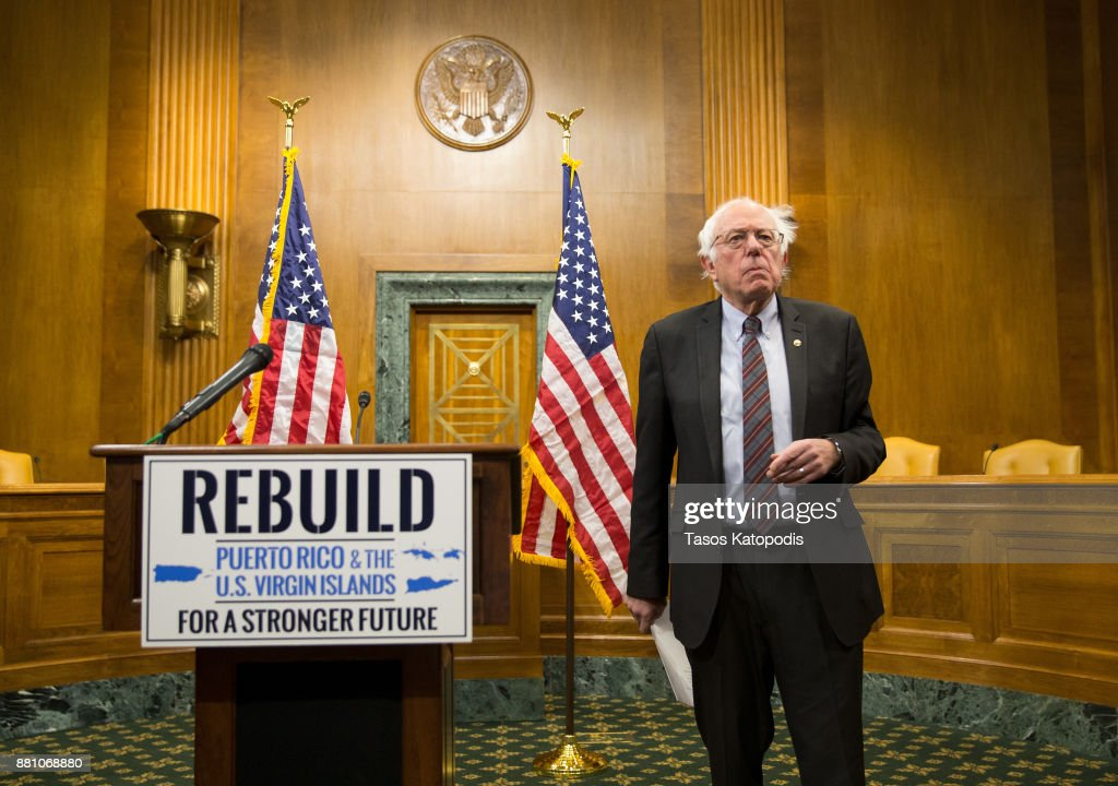 Senator Bernie Sanders (I-VT) attends a news conference to discuss 'a comprehensive plan to address the immediate humanitarian needs in Puerto Rico and the U.S. Virgin Islands, and ensure that the islands are able to rebuild in a way that empowers them to thrive on November 28, 2017 in Washington, DC.