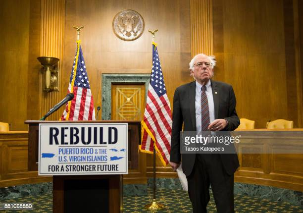 Senator Bernie Sanders attends a news conference to discuss 'a comprehensive plan to address the immediate humanitarian needs in Puerto Rico and the...