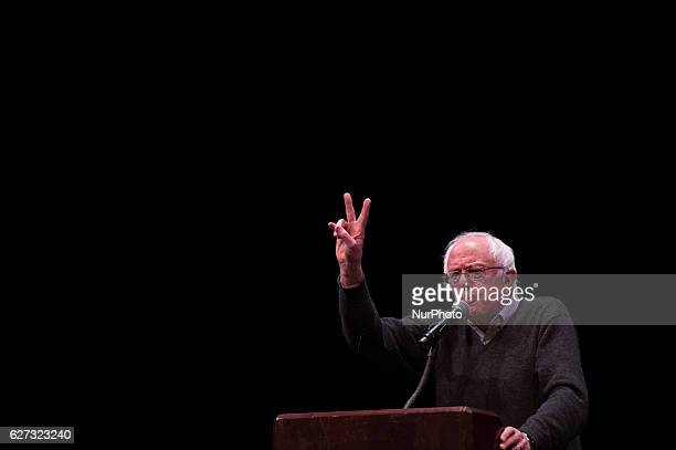 "Senator Bernie Sanders discusses his book ""Our Revolution"" to a crowd at University of California Berkeleys Zellerbach Auditorium on..."