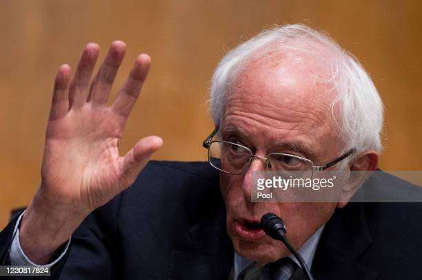 Senator Bernie Sanders, D-VT, questions Former Michigan Governor Jennifer Granholm during the Senate Energy and Natural Resources Committee hearing...