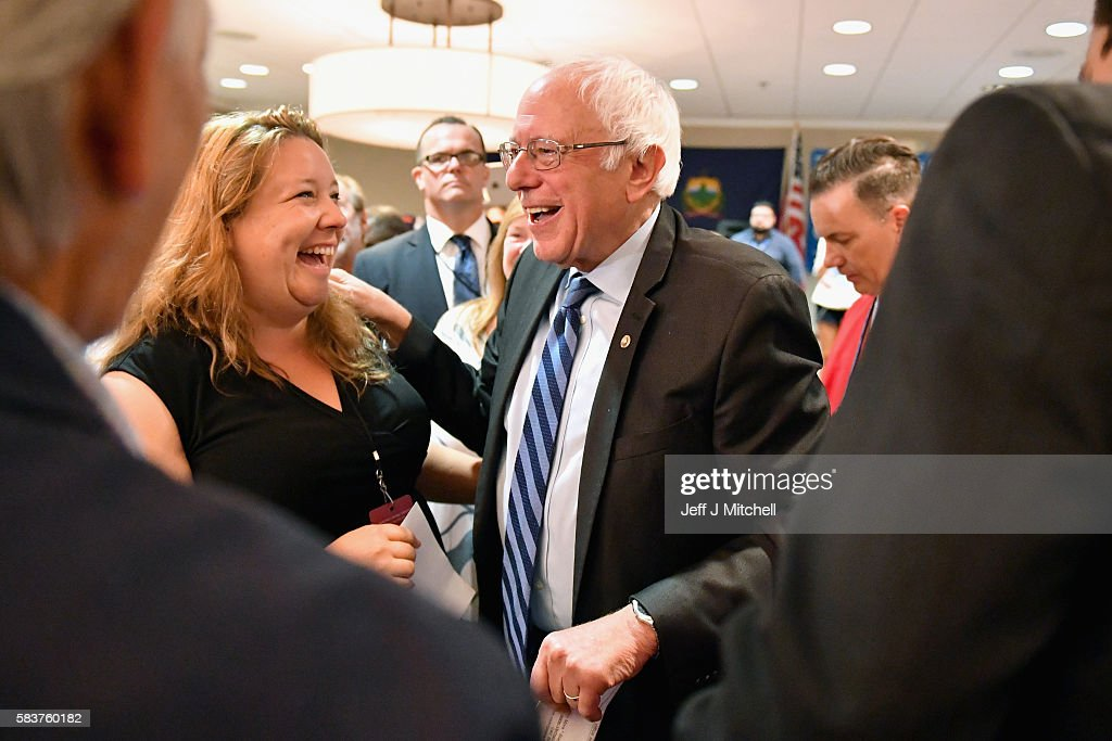 Senator Bernie Sanders exits the stage after addressing the New Hampshire, Maine and Vermont delegation breakfast at the Democratic National Convention (DNC) on July 27, 2016 in Essington, Pennsylvania. The convention officially began on Monday and is expected to attract thousands of protesters, members of the media and Democratic delegates to the City of Brotherly Love.