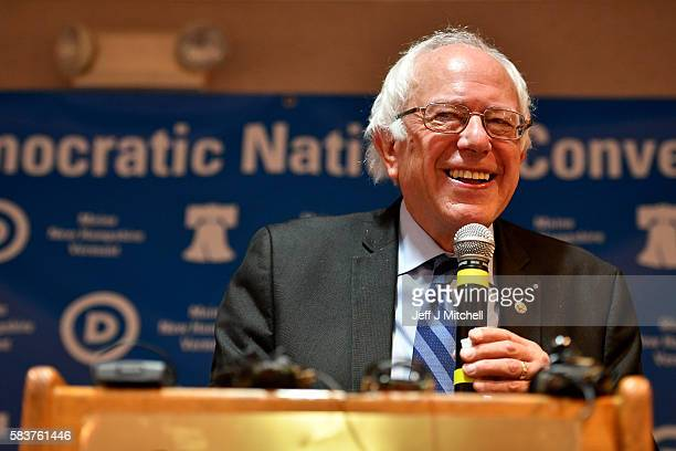 Senator Bernie Sanders exits the stage after addressing the New Hampshire Maine and Vermont delegation breakfast at the Democratic National...