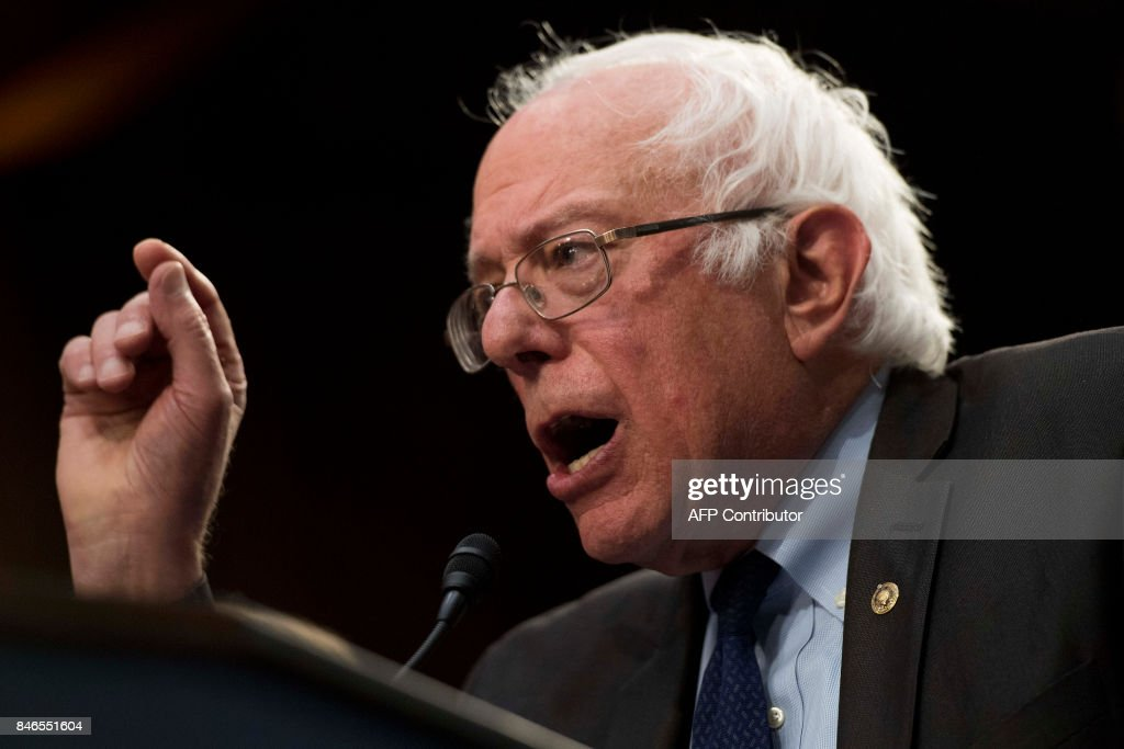 Senator Bernie Sanders, Independent from Vermont, discusses Medicare for All legislation on Capitol Hill in Washington, DC, on September 13, 2017. The former US presidential hopeful introduced a plan for government-sponsored universal health care, a notion long shunned in America that has newly gained traction among rising-star Democrats. /