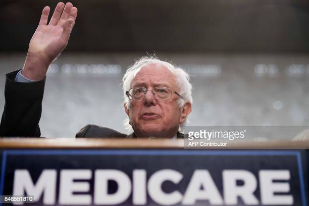 Senator Bernie Sanders Independent from Vermont discusses Medicare for All legislation on Capitol Hill in Washington DC on September 13 2017 The...