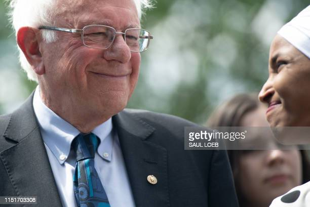 US Senator Bernie Sanders Independent of Vermont and Representative Ilhan Omar Democrat of Minnesota hold a press conference to introduce college...