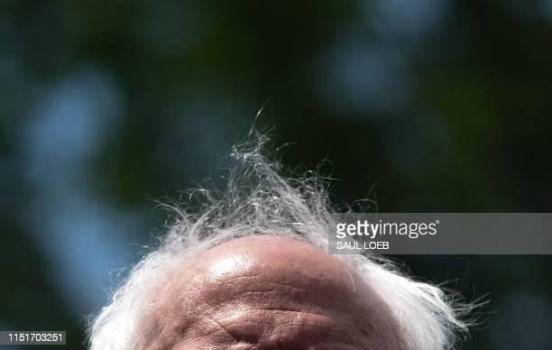 US Senator Bernie Sanders Independent of Vermont attends a press conference to introduce college affordability legislation outside the US Capitol in...
