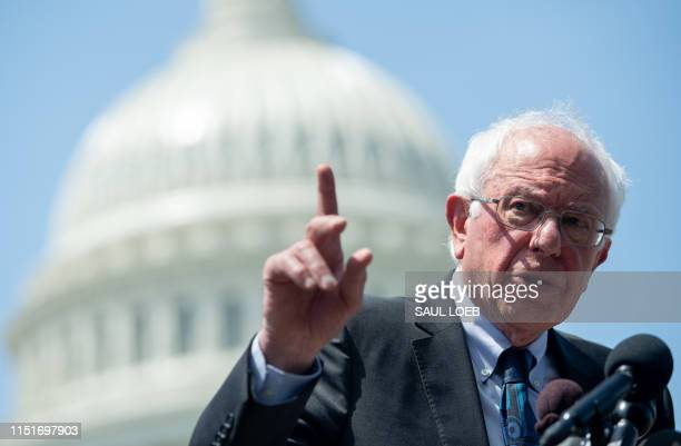 US Senator Bernie Sanders Independent of Vermont speaks during a press conference to introduce college affordability legislation outside the US...