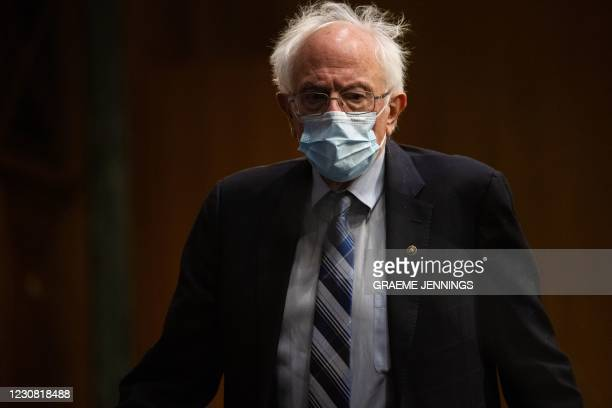 Senator Bernie Sanders, I-VT, arrives ahead of a hearing to examine the nomination of former Michigan Governor Jennifer Granholm to be Secretary of...