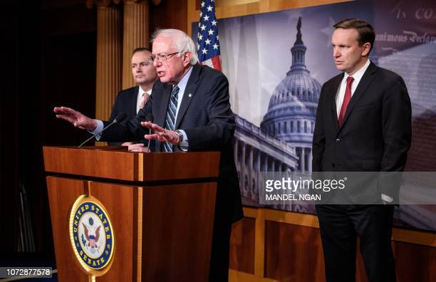 Senator Bernie Sanders IVT flanked by Senator Mike Lee RUT and Senator Chris Murphy DCT speaks after the Senate voted to withdraw support for Saudi...