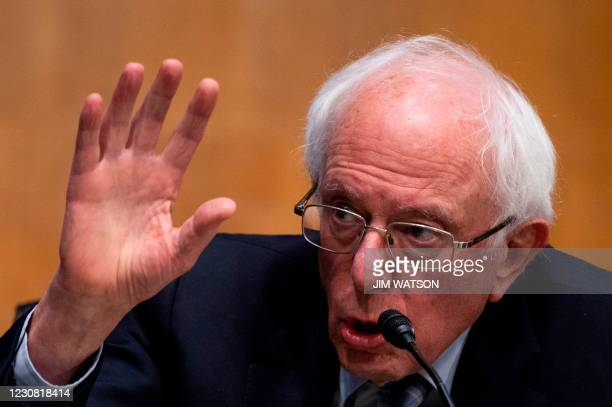 Senator Bernie Sanders, I-VT, questions former Michigan Governor Jennifer Granholm during the Senate Energy and Natural Resources Committee hearing...