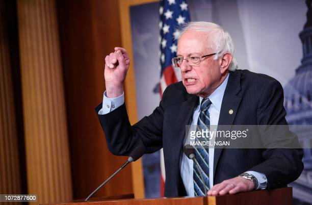 Senator Bernie Sanders IVT speaks after the Senate voted to withdraw support for Saudi Arabia's war in Yemen in the Senate TV studio at the US...