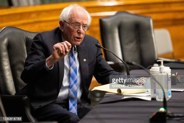 Senator Bernie Sanders, I-VT, speaks during a hearing to examine the nomination of former Michigan Governor Jennifer Granholm to be Secretary of...