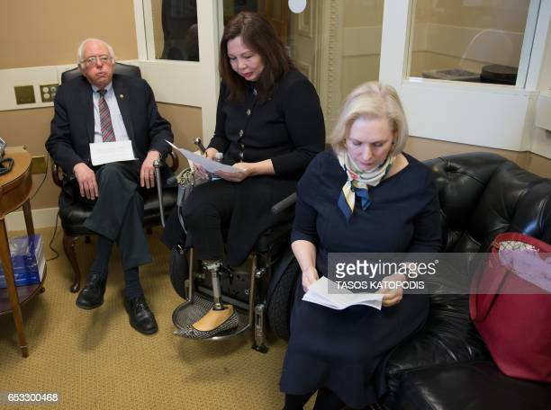 Senator Bernie Sanders of Vermont Tammy Duckworth of Illinois and Senator Kristen Gillibrand of New York are seen before a press conference on...
