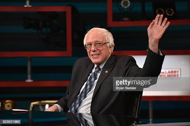 "Senator Bernie Sanders on Comedy Central's ""The Nightly Show With Larry Wilmore"" on January 5, 2016 in New York City."