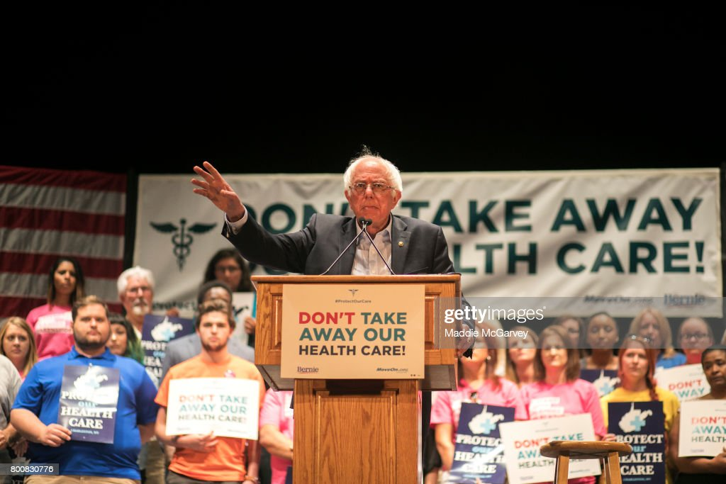 Senator Bernie Sanders speaks at a rally to stop Trumpcare at the Charleston Municipal Auditorium on June 25, 2017 in Charleston, West Virginia.