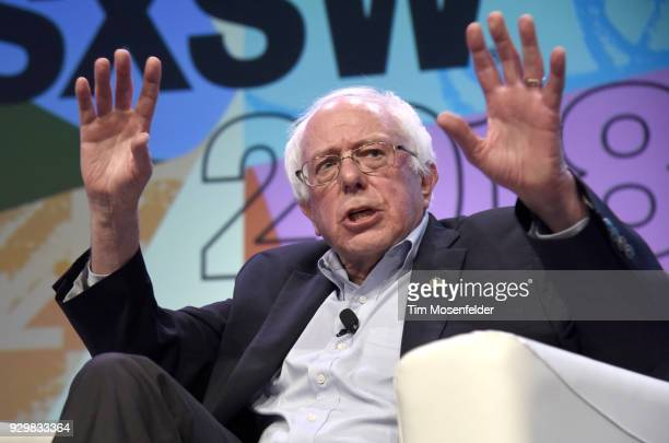 Senator Bernie Sanders speaks at the 2018 South By Southwest Conference and Festivals at the Austin Covention Center on March 9 2018 in Austin Texas