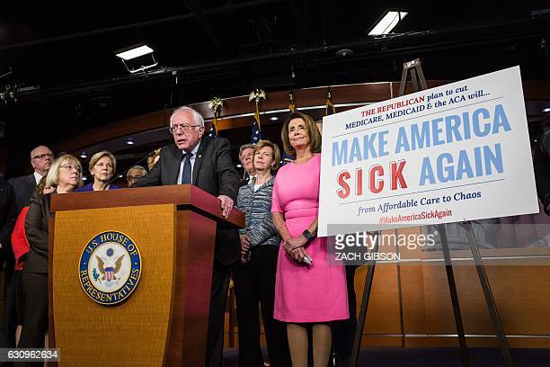 US Senator Bernie Sanders speaks during a press conference discussing Republican attempts to dismantle Medicare Medicaid and The Affordable Care Act...