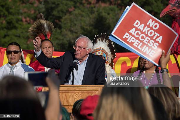 US Senator Bernie Sanders speaks during a rally in front of the White House in Washington DC September 13 as demonstrators gathered to protest the...