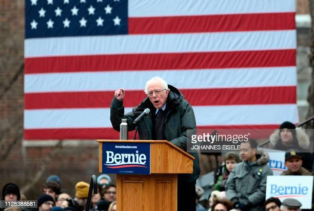 US Senator Bernie Sanders speaks during a rally to kick off his 2020 US presidential campaign in the Brooklyn borough of New York City on March 2...