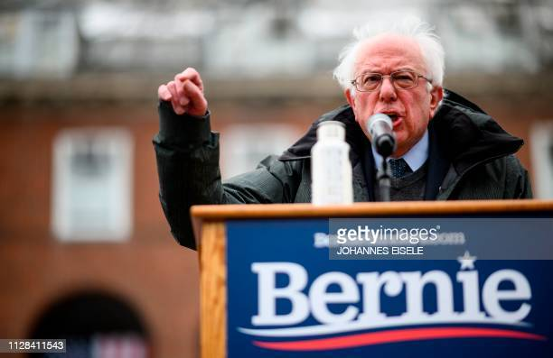 US Senator Bernie Sanders speaks during a rally to kick off his 2020 US presidential campaign in the Brooklyn borough of New York City on March 2 2019