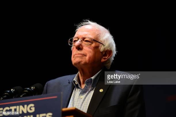 Senator Bernie Sanders speaks on stage during the Protecting Working Families Rally to stand up against the horrific GOP tax proposal, hosted by Not...