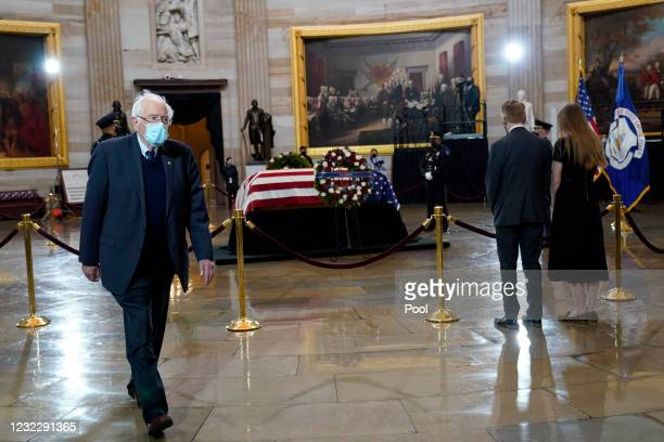 "Senator Bernie Sanders walks away after paying his respects at the casket of the late U.S. Capitol Police officer William ""Billy"" Evans during a..."
