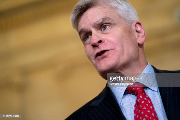 Senator Bill Cassidy speaks to members of the media while arriving to Senate Republican policy luncheon at the Russell Senate Office Building on...