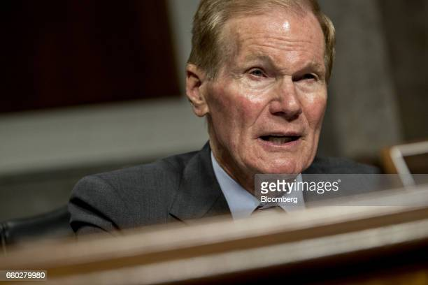 Senator Bill Nelson a Democrat from Florida and ranking member of the Senate Transportation Science and Transportation Committee speaks during a...