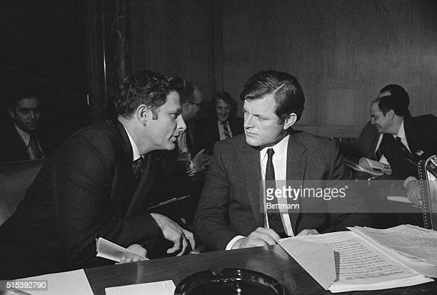 Senator Birch Bayh and Senator Edward Kennedy at senate Judiciary Committee Hearings