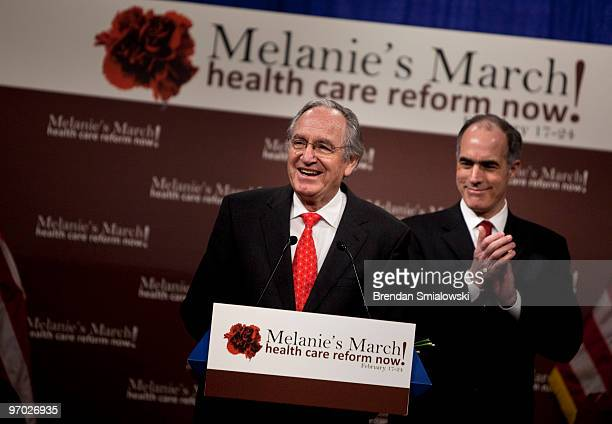 Senator Bob Casey claps as Senator Christopher Dodd speaks during a rally on Capitol Hill February 24 2010 in Washington DC Supporters of healthcare...
