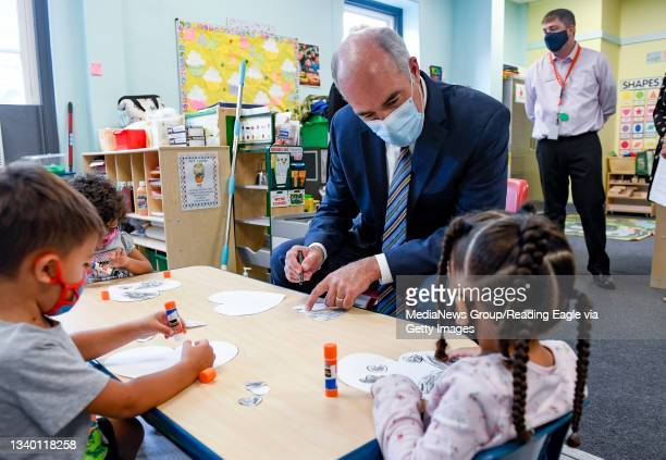 Senator Bob Casey Jr. Sits and does a craft with Pre-K students. At the Reading YMCA Monday morning September 13, 2021 where U.S. Senator for...