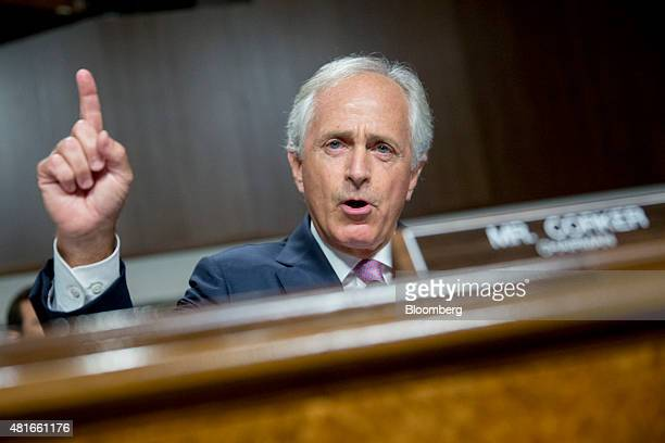 Senator Bob Corker a Republican from Tennessee and chairman of the Senate Foreign Relations Committee makes an opening statement during a Senate...