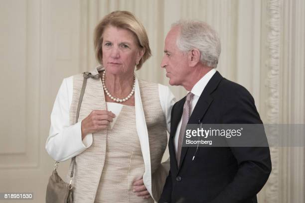Senator Bob Corker a Republican from Tennessee speaks with Senator Shelley Moore Capito a Republican from West Virginia left during a lunch with US...