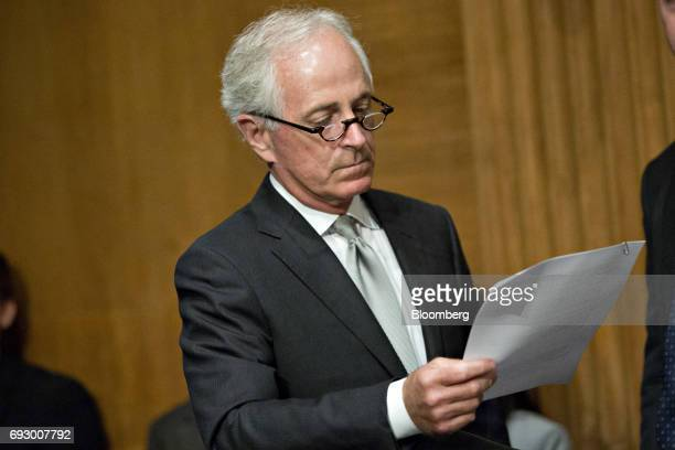 Senator Bob Corker a Republican from Tennessee waits to begin a Senate Banking Committee nomination hearing with Kevin Hassett chairman of the...