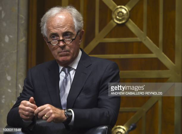 US Senator Bob Corker listens during a Senate Foreign Relations Committee hearing with US Secretary of State Mike Pompeo in Washington DC on July 25...