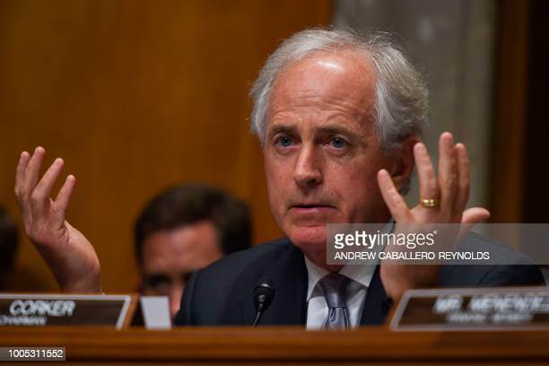 US Senator Bob Corker speaks during a Senate Foreign Relations Committee hearing with US Secretary of State Mike Pompeo in Washington DC on July 25...