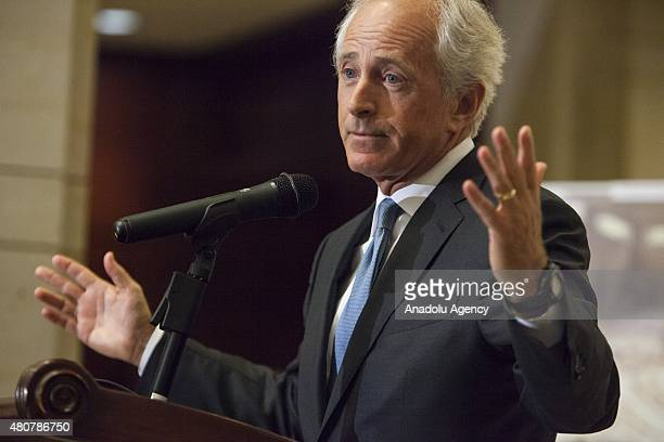 Senator Bob Corker speaks during the unveiling of 'Caesar's Photos Inside Syria's Secret Prisons' a collection of photographs smuggled out of Syria...