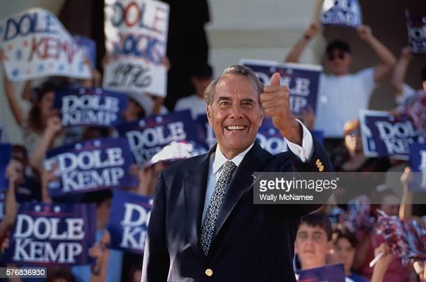 Senator Bob Dole gives the 'thumbs up' sign during a presidential rally Senator Dole won the Republican nomination for president in 1996 but lost the...
