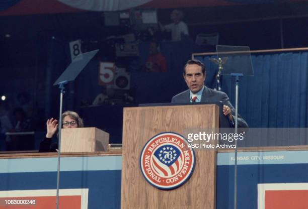 Senator Bob Dole speaking at podium at the 1976 Republican National Convention Kemper Arena