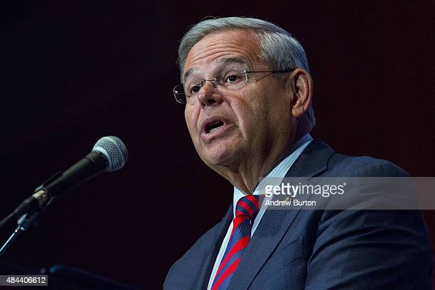S Senator Bob Menendez gives a speech announcing he will not support President Obama's Iran nuclear deal at Seton Hall University on August 18 2015...