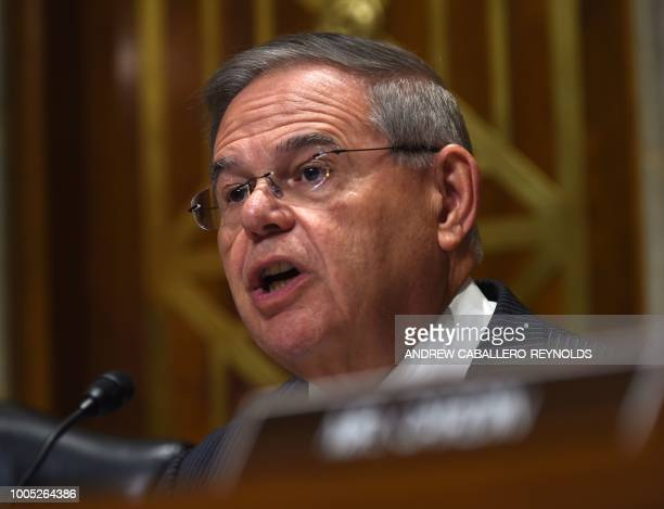 US Senator Bob Menendez speaks during a Senate Foreign Relations Committee hearing with US Secretary of State Mike Pompeo on Capitol Hill in...