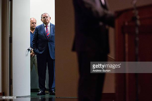 S Senator Bob Menendez waits off stage before giving a speech announcing he will not support President Obama's Iran nuclear deal at Seton Hall...