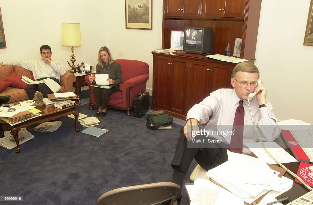 Senator Byron L. Dorgan (D-ND) and staffers work in the basement of the U.S. Capitol, in room SC 10A, instead of taking the week off. Sen. Dorgan said 'All you need to work is a phone and a computer, maybe a desk, so why not work?'